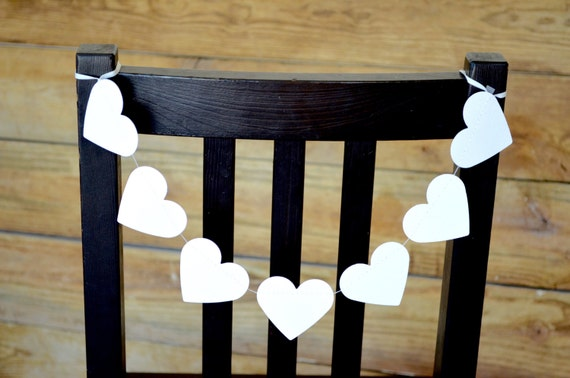Large White Heart Chair Garlands