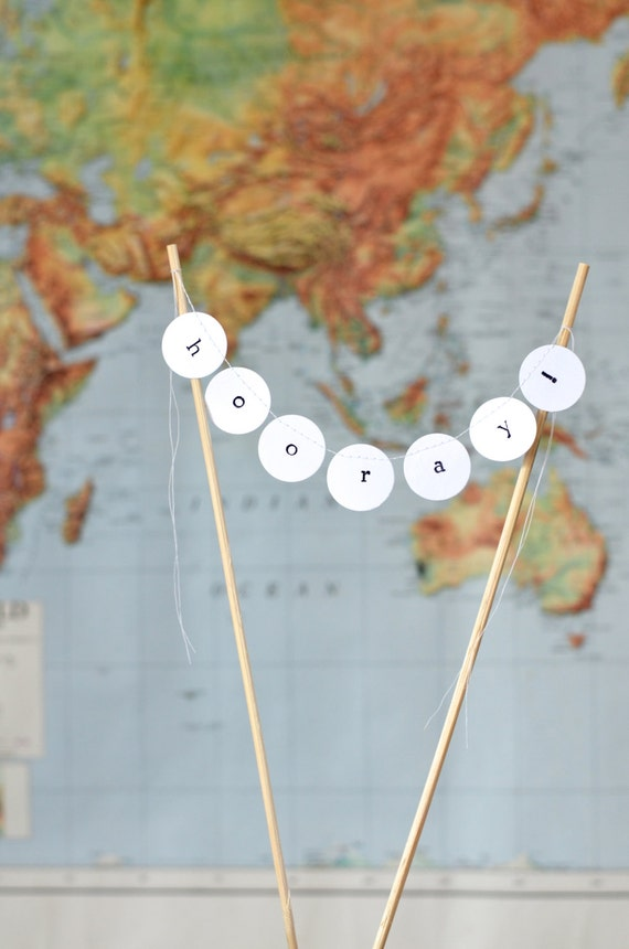 Hooray Hand Stamped Cake Topper, mini birthday dessert bunting, custom colors available