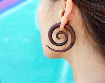New hand carved brown water buffalo horn spiral gauged earrings 3MM 8G gauges tapers plugs 1 18 long handmade tribal jewelry