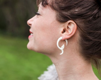 Fake Gauges, Fake Plugs, Handmade Bone Earrings, Tribal Style - Spring Blossom