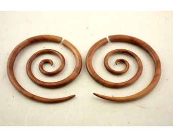 Fake Gauges, Handmade, Wood Earrings, Cheaters, Organic, Plugs, Split, Tribal Style -  XL Double Spirals Tan Wood