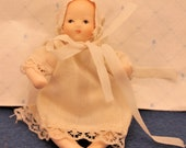 Miniature Baby Doll Porcelain Bisque Cloth Body Wearing Nightgown and Bonnet B