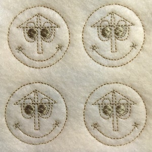 pacifier clips Lot of 4 UNCUTCUT machine embroiderd embellishments felties as shown for hairbows badge reels crafts ect.