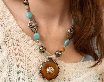 Devotion - Traditional Tibetan Style Necklace with Silver Repousse Beads, Amazonite, and Fire Agate