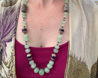 Sea Grass - Graduated Malaysian Jade Necklace in Light Sea Green Hues with Silver and Royal Purple Tibetan Beads