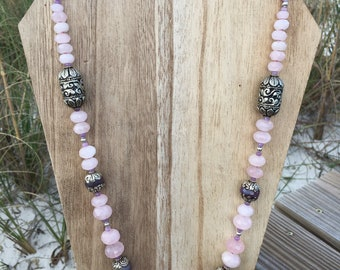 Sweetness & Light - Graduated Rose Quartz Necklace in Light Pink Hues with Silver and Lavender Tibetan Beads