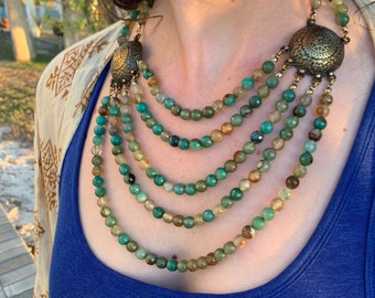 Green Rose - Bohemian Style Five Strand Necklace with Embossed Bronze Connectors and Fire Agate Beads in Green and Bronze Hues