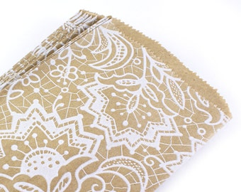 25 Kraft bags with white floral lace pattern - 4-3/4x6-3/4 kraft paper bags - for Packaging, wedding favors, merchandise bags