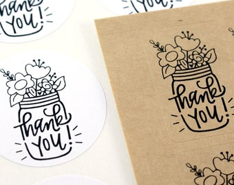 Shop Exclusive - THANK YOU! mason jar stickers with flowers, shine version - modern calligraphy hand lettered stickers