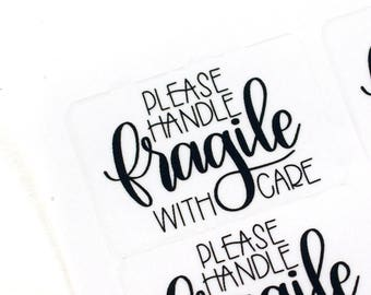 Shop Exclusive - FRAGILE please handle with care stickers - modern calligraphy hand lettered stickers - V1
