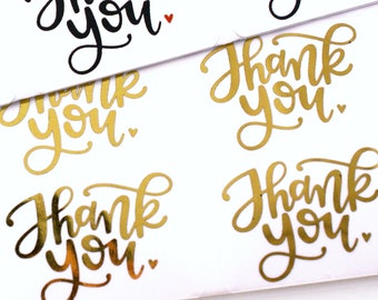GOLD FOIL Thank You! with little heart handlettered stickers - gold thank you stickers for packaging, gift wrapping, weding cards
