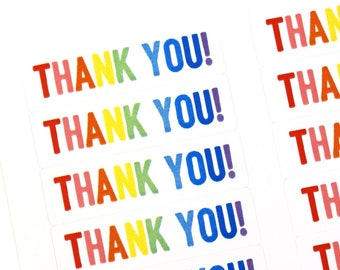 80 BOLD Rainbow THANK YOU! stickers - for packaging, penpal letters, stationery, thank you cards
