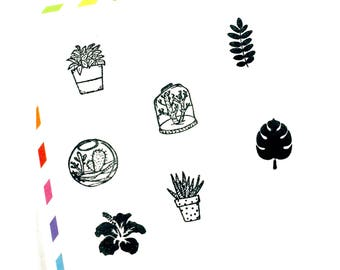 Stamp cuties - mini peg stamps -house plant, terrarium, cactus, fern, monstera leaf, hibiscus, aloe vera - for planners, letters, crafting
