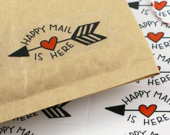 Shop Exclusive - Happy Mail is Here -  handlettered and handdrawn with red heart and arrow - happy mail sticker with arrow
