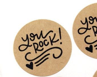 Shop Exclusive - You Rock! stickers with flourish and heart - modern calligraphy hand lettered stickers