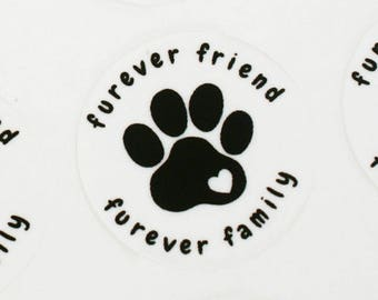 Animal Rescue Fundraiser - furever friend, furever family - animal paw print with heart - 100% of net proceeds to animals in need