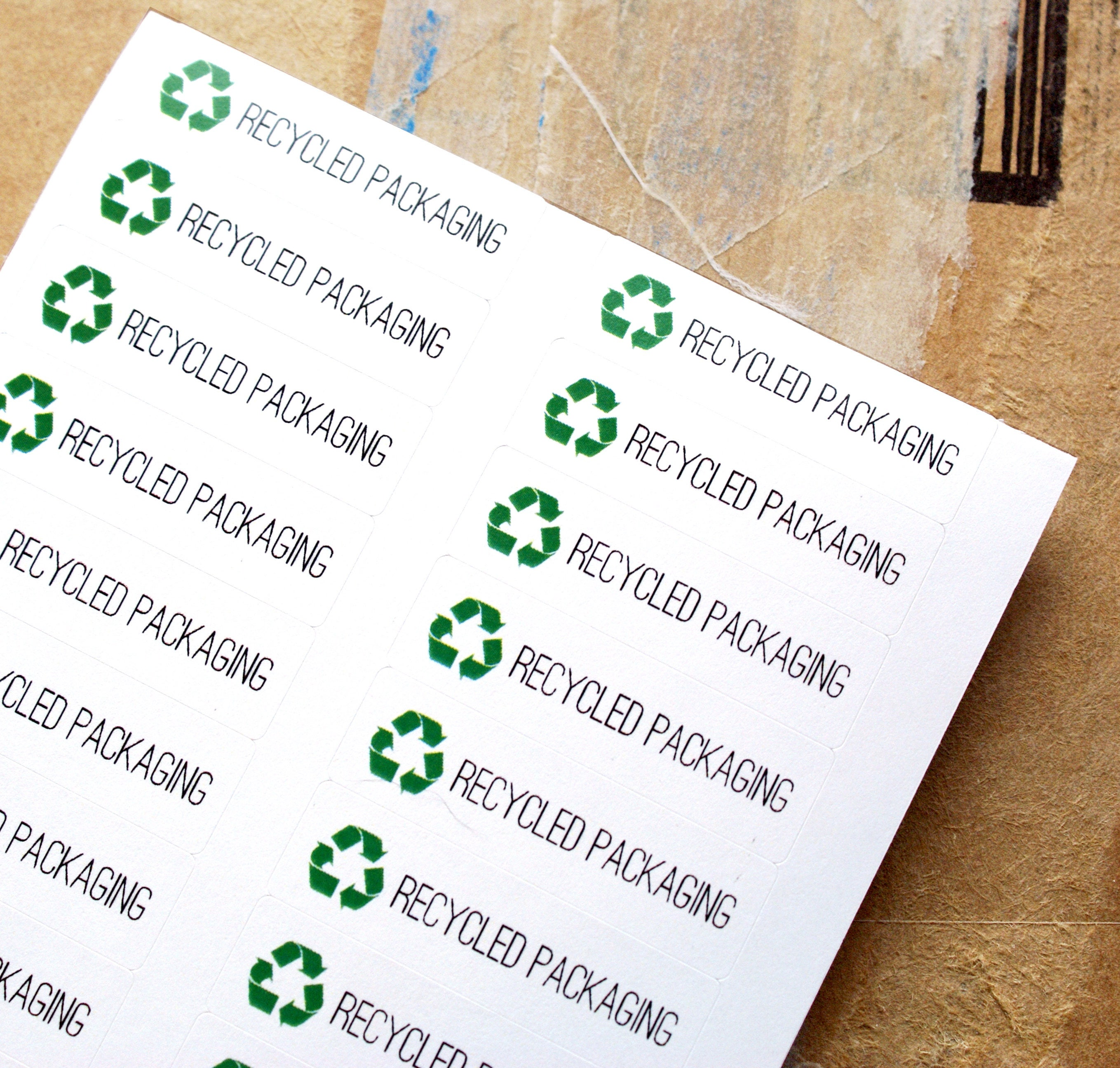 Recycled Packaging Recycle Stickers With Recycling Symbol Etsy