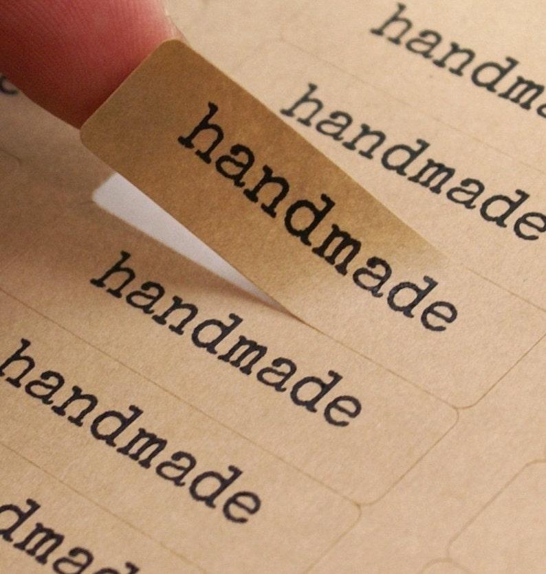 80 HANDMADE typewriter font Brown Kraft Labels  1/2 x 1 3/4 image 0