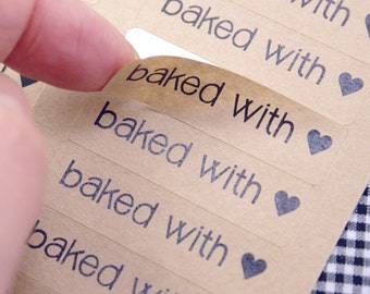 BAKED WITH LOVE labels with heart  kraft brown Labels - baked with love stickers 1/2 x 1 3/4 inch kraft stickers