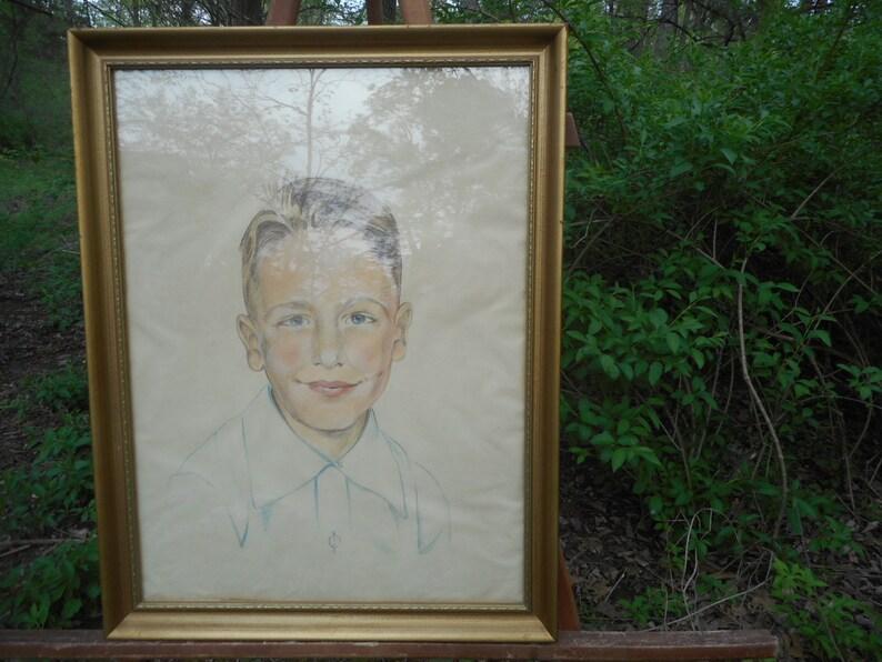 Jahrgang Pastell Portrat Eines Jungen Boy Blonde Haare Blaue Augen 27 X 21 Suss
