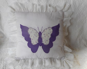 Vintage Appliqued Purple Butterfly Pillow w/Lace Trim-Gift-Wrapped for Free
