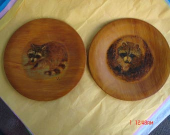 Vintage Hand Painted Raccoon Art on Wood Plates/Dishes - Unique