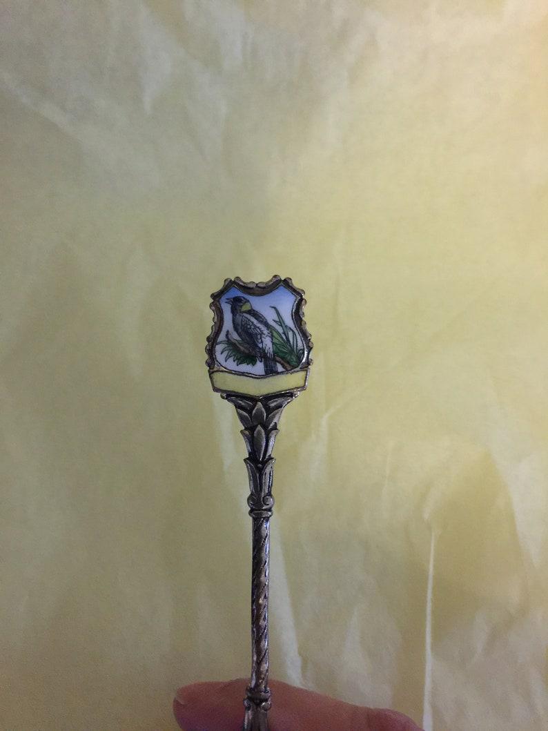 Very Nice Vintage Collectible Enamel Silver Metal Birds Spoon