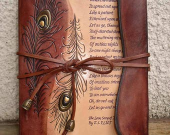 A5 Refillable Rustic Leather Journal Hand Tooled, Hand Written
