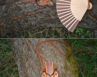 Tooled Leather Fan Holder Plus Bamboo/Paper Fan