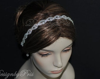 SALE HPH9 - Bridal Hairpiece Wedding Accessories. Wedding Headband Bridal Ribbon Rhinestone Headband - Rhinestone Ribbon Headband