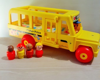 Vintage Fisher Price School Bus with Plastic Base