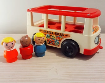 Vintage Fisher Price White Mini-Bus and Passengers