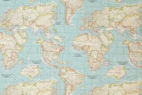 Blue worldmap fabric cotton polyester map pattern world etsy image 0 gumiabroncs Images