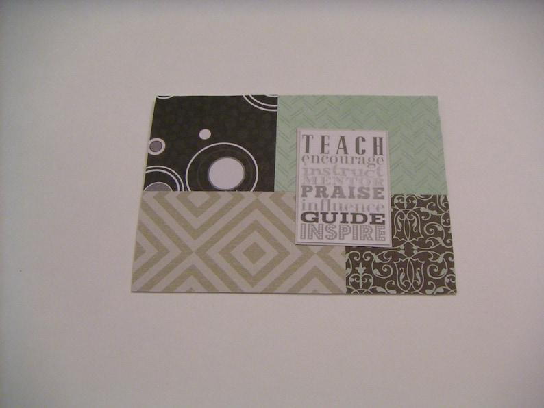Greeting Card for TeacherHandmade Greeting CardBlack White and Pale Green Notecard