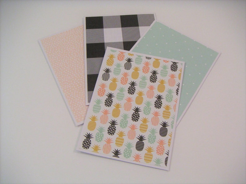 Set of Four Note CardsBlush and Mint Pineapple Note CardsSet of Four Patterned Note CardsNote Card SetPineapple StationeryNote Cards