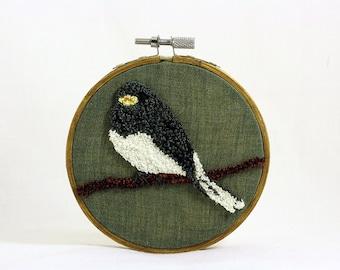Dark-Eyed Junco Punchneedle Embroidery Hoop Wall Art 4 Inch Hoop. Fiber Art. Home Decor. Bird Art. Green, Gray, Brown. Winter