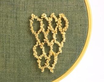Honeycomb Hexagon Embroidery Hoop Art. Punchneedle. Home Decor. Eco Friendly. Geometric, Green, Yellow. 4 Inch Hoop.
