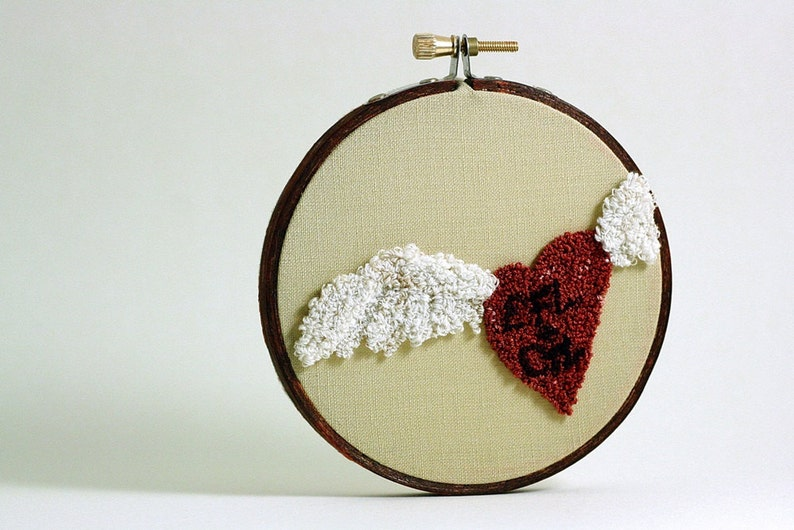 Valentine Personalized Winged Heart Embroidery Hoop Art. image 0