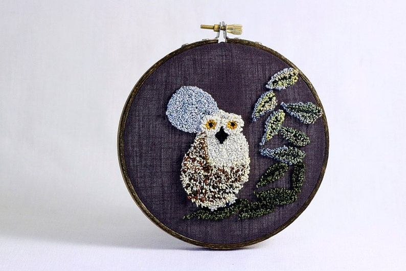 Owl with Full Moon Punch Needle Embroidery Hoop Art. 5 Inch image 0