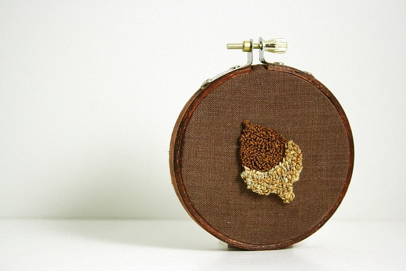 Acorn Punch Needle Embroidery Hoop Art.  Eco Friendly Home image 0