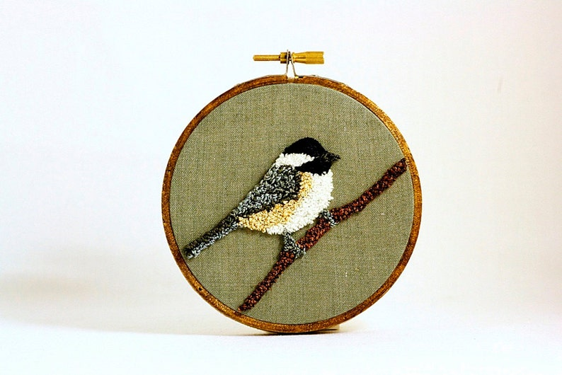 Black-Capped Chickadee Punchneedle Embroidery Hoop Wall Art 4 image 0