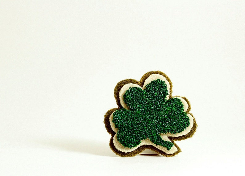 St. Patrick's Day Shamrock Punch Needle Pin. Emerald image 0