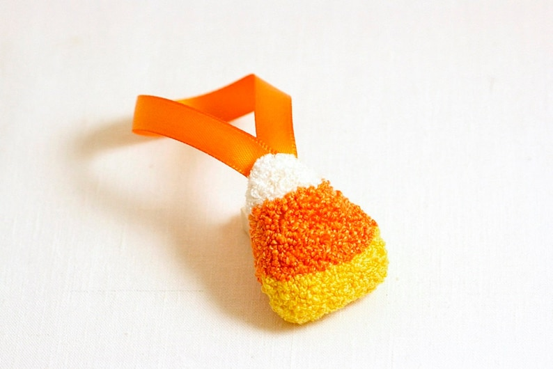 3D Candy Corn Halloween Tree Ornament. Punchneedle. Food Art. image 0