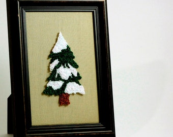 Snowy Pine Tree. Framed Christmas Wall Art. Holiday Home Decor. Punchneedle Embroidery. Green and White. Fiber Art