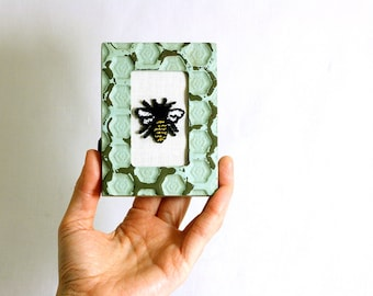 Honey Bee in a Mini Weathered Hexagon Frame. Punchneedle Embroidery Fiber Art. Bee Keeper Gift. Home Decor. Light Green, Black, Yellow.