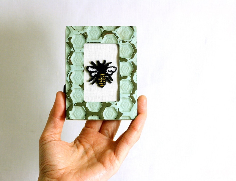 Honey Bee in a Mini Weathered Hexagon Frame. Punchneedle image 0