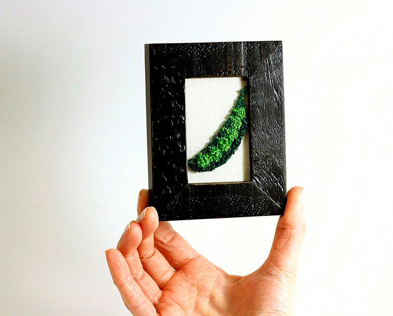 Pea Pod Kitchen art in a Mini Frame. Punchneedle Embroidery image 0