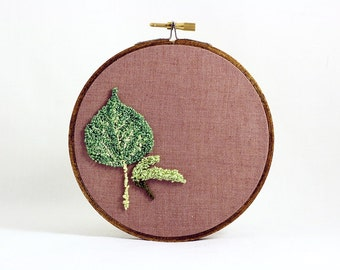 Quaking Aspen and Seed Punchneedle Embroidery Hoop Wall Art. Botanical Fiber Art. Spring Green and Brown. Nature. Ready to Ship.