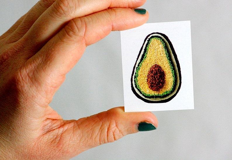 Stitched Avocado Temporary Tattoo. Stocking Stuffer. Harp and image 0