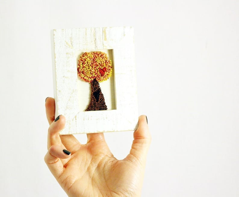 Autumn Tree of Love in a Mini Frame. Punchneedle Embroidery image 0